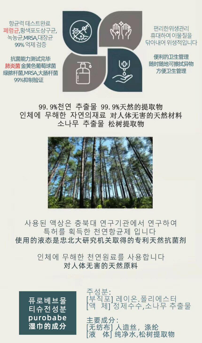 韓國PUROBABE 濕紙巾 隨身包  酒精乾洗手99.9%殺菌/消毒/清潔/抗菌濕紙巾 一包20抽