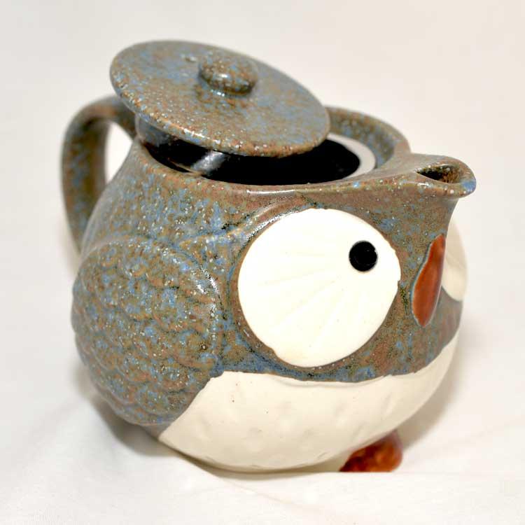 貓頭鷹 陶瓷 泡茶壼 日本製造 附濾網