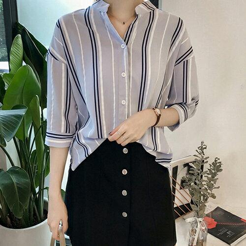 *ORead*韓版寬鬆大碼七分袖條紋襯衫(4色M~4XL) 0