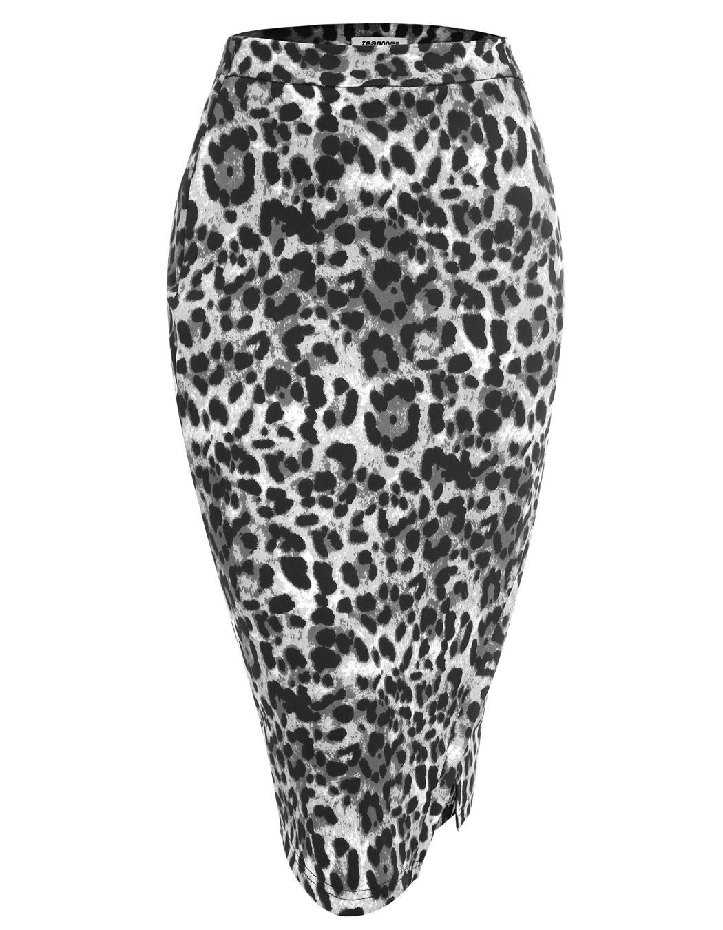 Women High Waist Slim Stretch Side Split Pencil Skirt 2