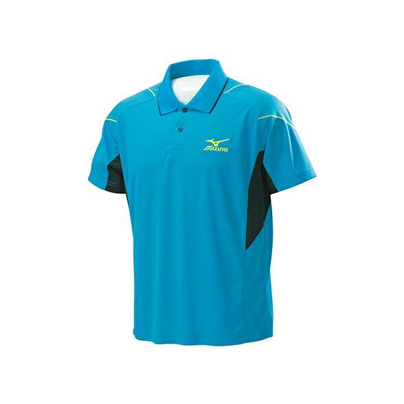 32TA602019(粉天藍)左胸口袋設計男短袖POLO衫 【美津濃MIZUNO】
