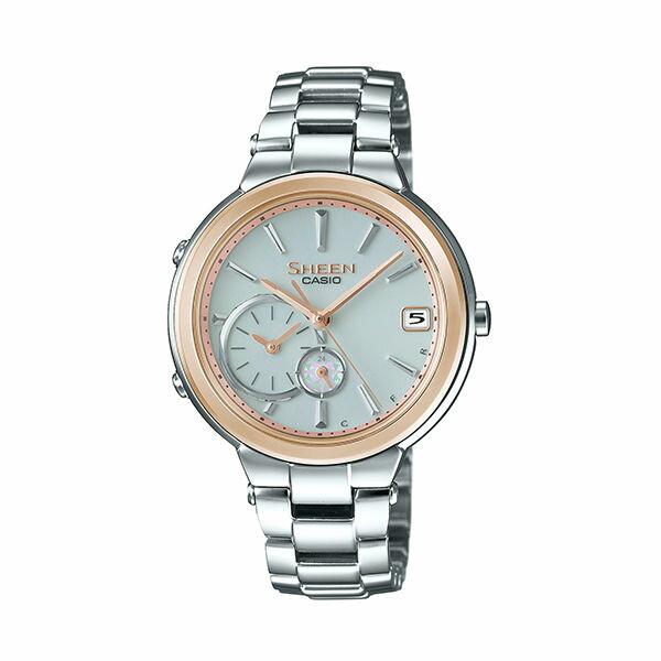 CASIOSHEENSHB-200SG-7A金框藍芽時尚腕錶淡藍面35mm