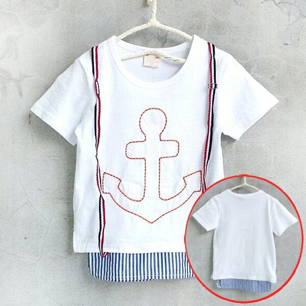 【班比納精品童裝】假兩件船鉚吊帶下拼接襯衫棉T-白【BO150514060】