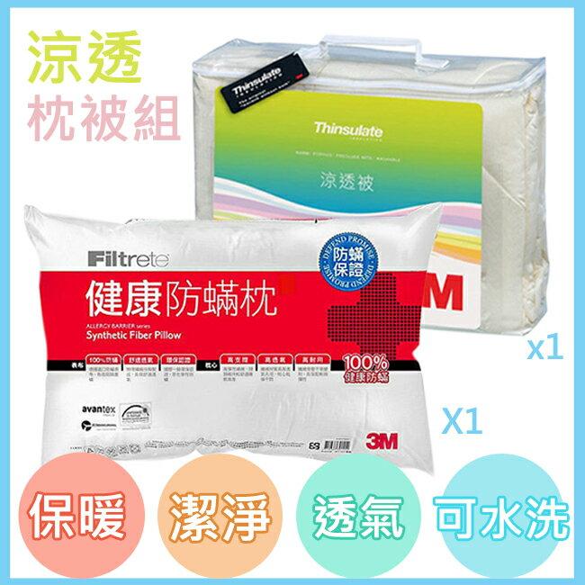 《3M》特價涼透枕被組  棉被 被子 冬被 涼被 防螨 Thinsulate新絲舒眠 可水洗涼透被(Z120)+健康防螨枕心(AP-A2)