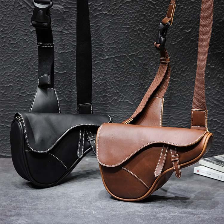 【5折超值價】潮流時尚馬鞍造型百搭斜背側背包