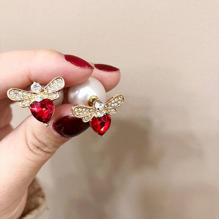 耳環 個性 愛心 鑲鑽 珍珠 甜美 氣質 雙面 耳釘 耳環【DD1812021】 BOBI  03 / 07 3