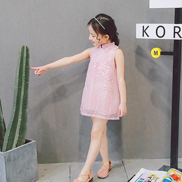 女童短袖洋裝 旗袍式連身裙 背心裙 小禮服 唐裝 童裝 MS60050 好娃娃