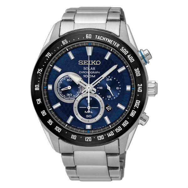 SeikocriteriaV175-0EE0B(SSC585P1)王力宏配戴款太陽能計時腕錶藍面43.6mm