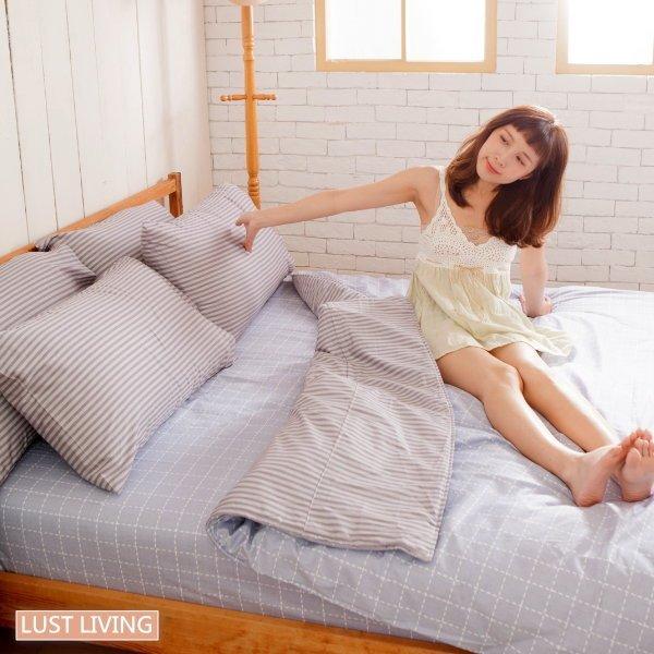 LUSTLIVING【無印日風】100%純棉、精梳棉床包枕套被套、台灣製