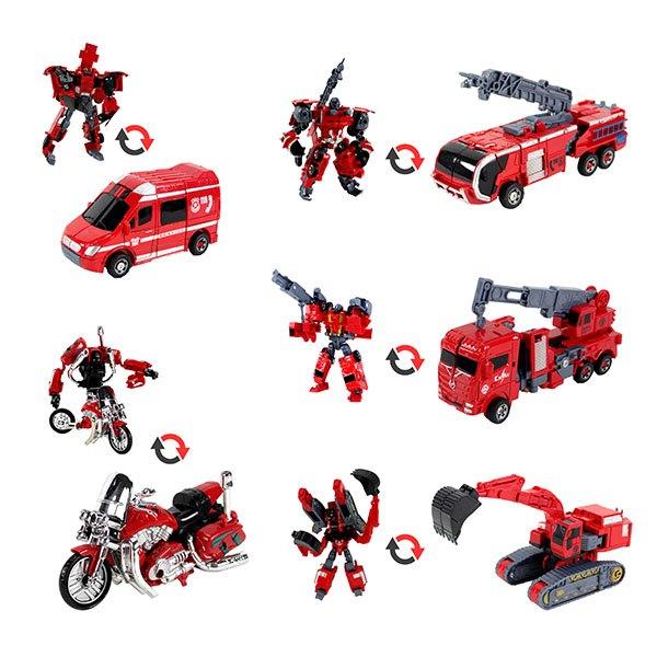 【888便利購】899485合1變形消防救援車隊(可組成機器人)(部份合金)