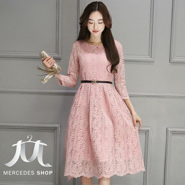 梅西蒂絲Mercedes Shop:《全店75折》秋裝顯瘦中長款蕾絲七分袖洋裝連身裙(S-3XL,4色)-梅西蒂絲(現貨+預購)