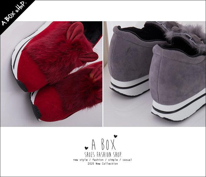 格子舖*【KR921】日韓雜誌熱賣質感麂皮 卡哇伊兔耳朵絨毛設計 厚底休閒帆布鞋 鬆糕鞋 3色 2
