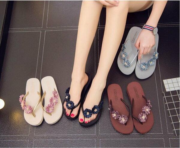 Pyf♥花朵人字拖坡跟厚底涼拖鞋夾腳沙灘鞋42大尺碼女鞋