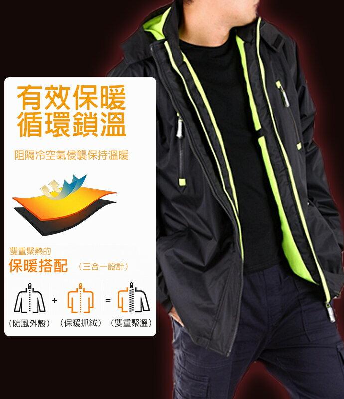 【限時免運!】CS衣舖 同SuperDry版型 高機能 防風 防潑水 內刷毛 可拆帽 雙拉鍊 衝鋒外套 三色 80099 8