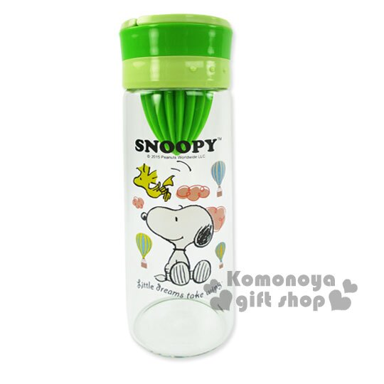 〔小禮堂〕史努比 蔬果榨汁玻璃瓶《綠.坐姿.熱氣球.500ml》附杯套
