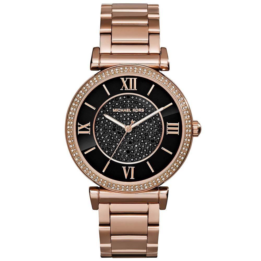 美國Outlet正品代購 MichaelKors MK 復古羅馬滿天星貝殼面鑲鑽黑玫瑰金     手錶 腕錶 MK3356 2