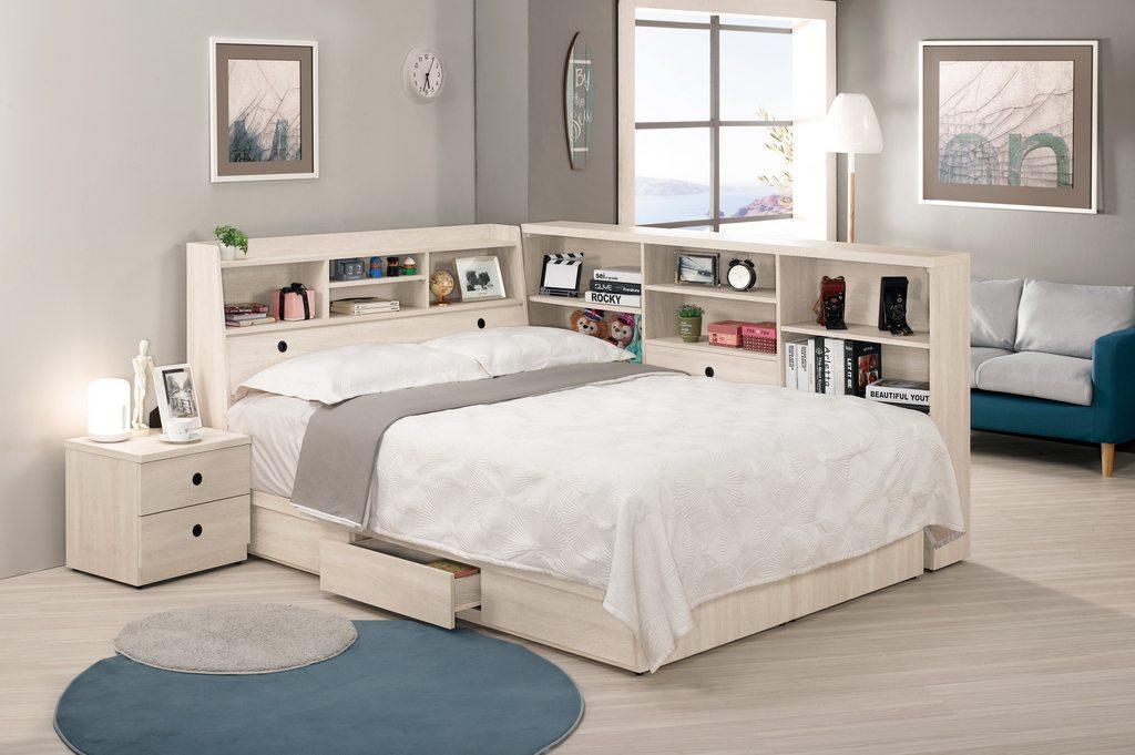【 尚品傢俱】CM-664-1 羅傑5尺書架型雙人床 / 3.5尺書架型單人床