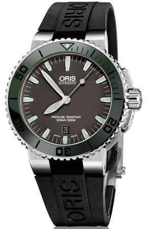 ORIS 豪利時 Aquis 時間之海系列潛水機械腕錶 0173376534157-0742634EB 黑 綠 43mm