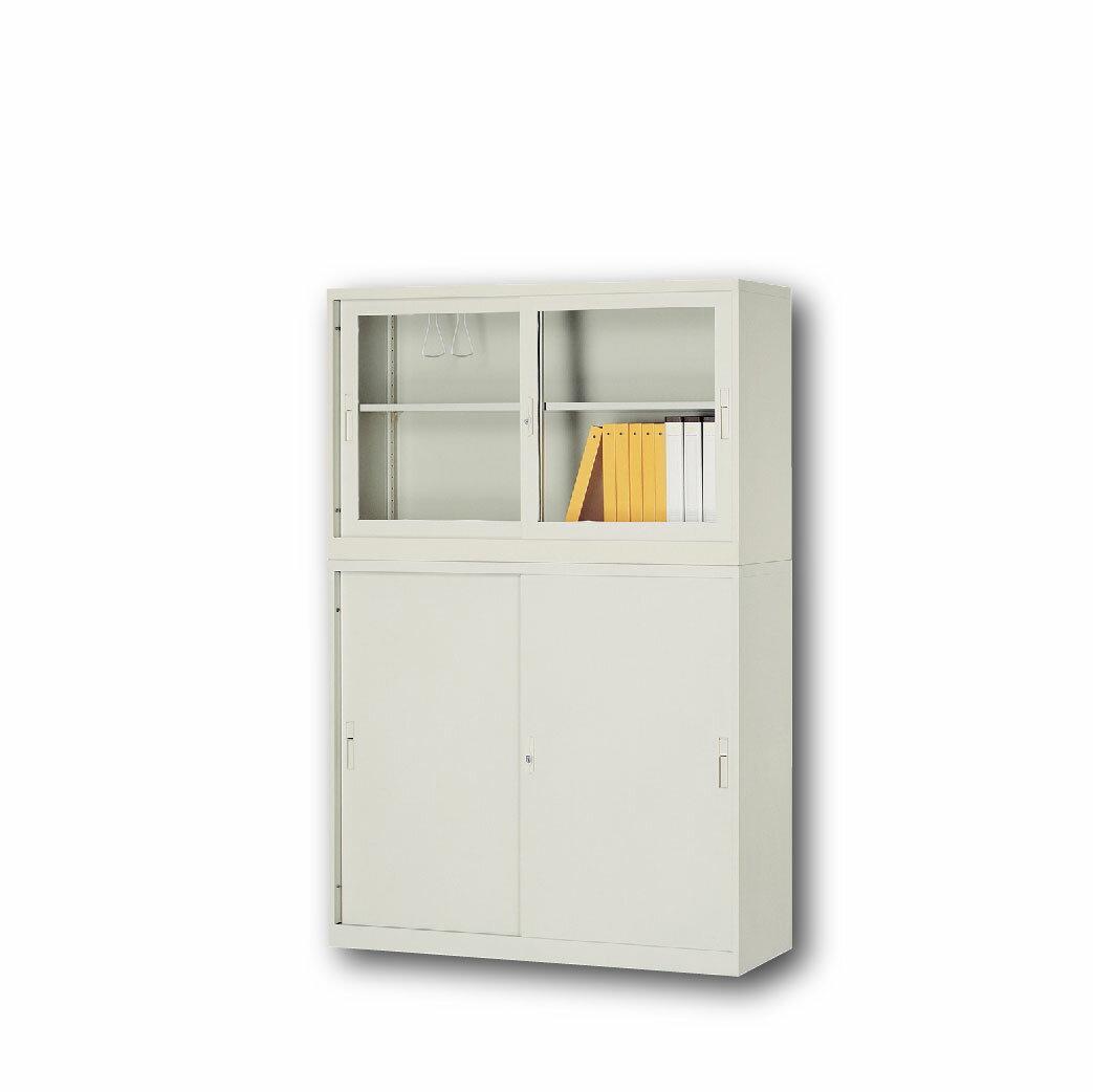 【哇哇蛙】卷宗櫃/4尺拉門 A-4601 上玻拉+下拉門 辦公 學校 收納 文件報表 置物櫃 分類資料 隔間櫃 鐵櫃