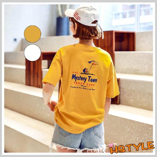 T恤圓領寬鬆印花短袖T恤NW11174-創翊韓都