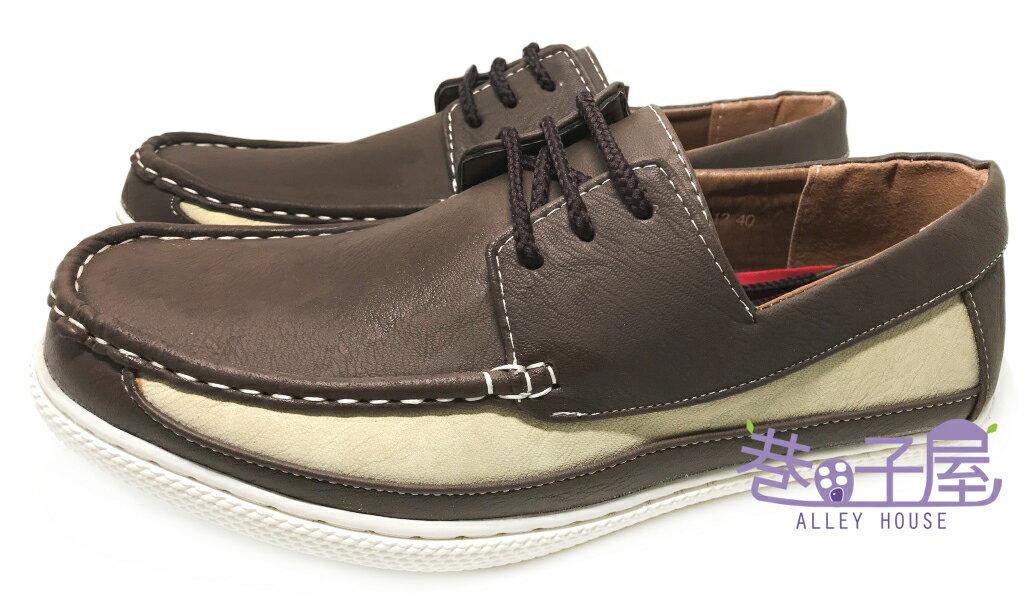 【巷子屋】DARK KNIGHT 男款奶油拼色繫帶休閒鞋 [99012] 咖啡 超值價$398+免運