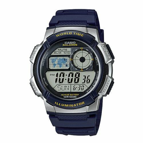 方采鐘錶 CASIO 飛機儀表板造型橡膠錶帶電子錶/ 藍色/ AE-1000W-2AVDF