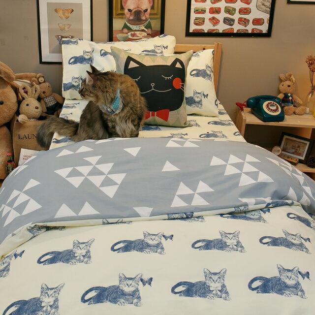 Blue cat 藍貓【床包藍貓】 加大/Kingsiz賣場   舒適磨毛布 台灣製造 5