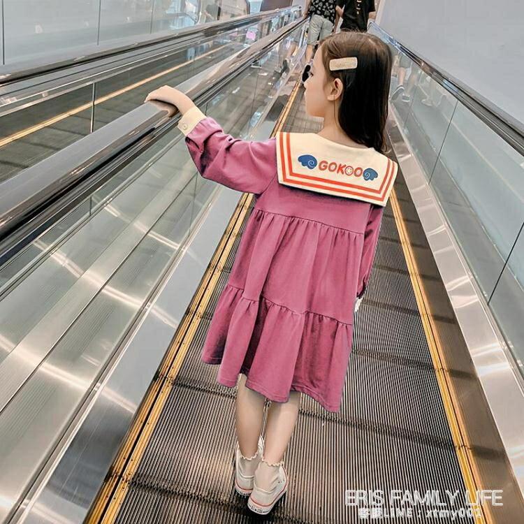 女童洋裝秋裝2020新款中大童女孩學院風洋氣長袖裙子兒童公主裙