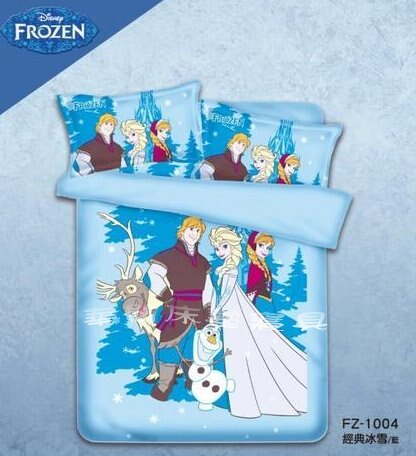 *華閣床墊寢具暢貨批發中心*《冰雪奇緣-經典冰雪-藍》單人床包薄被套三件組 MIT