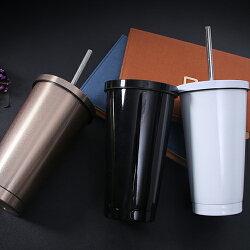 PS Mall 雙層創意不銹鋼吸管杯500ml【J809】