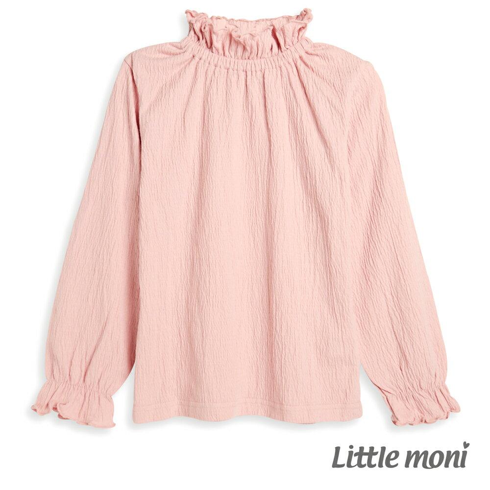 Little moni 荷葉高領上衣-粉紅 0