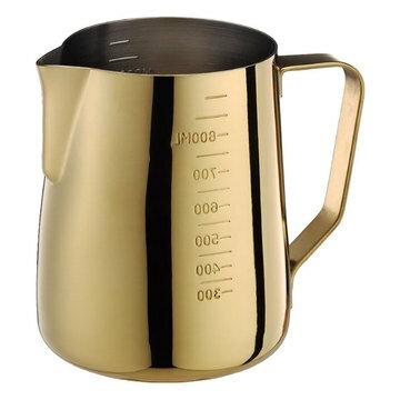 金時代書香咖啡  Tiamo 專業厚款附刻度標拉花杯  950ml  鍍鈦金  HC7091