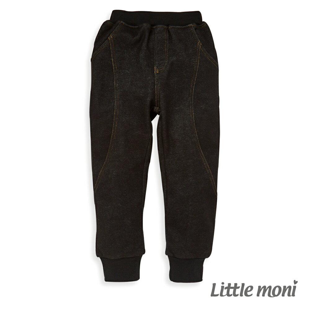 Little moni 內刷绒仿牛仔針織長褲-黑色(好窩生活節) 0