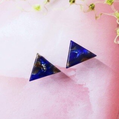 (預購+現貨)琥珀三角夾式耳環(螺旋夾)【2-2755】