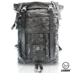 <br/><br/> LIUKOO戰地叢林迷彩系列 - 野戰質感越野防潑水大容量登山包-【神秘黑】<br/><br/>