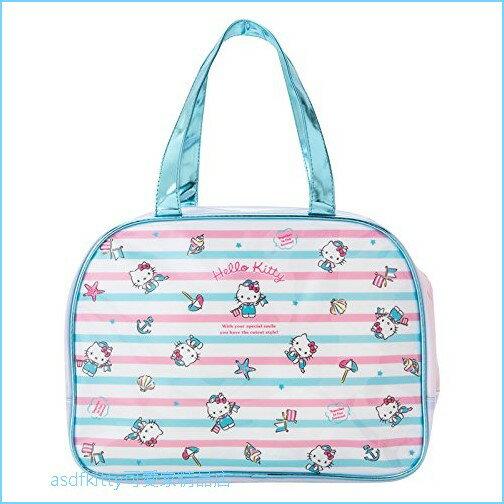 asdfkitty可愛家☆KITTY藍條紋貝殼防水半透明手提包手提袋游泳袋-好擦好洗-日本正版商品