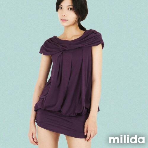 【Milida,全店七折免運】-夏季商品-氣質款-一字領洋裝 1