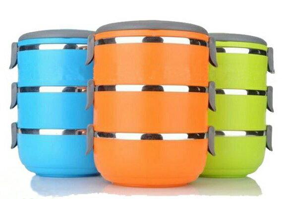【省錢博士】不鏽鋼手提圓形保溫餐盒三層 / 野餐飯盒 / 便當盒 159元