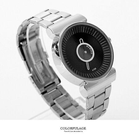 手錶 時尚都會圓盤秒針設計鐵錶腕錶 中性款設計男女皆可 黑白搭配 柒彩年代【NE1580】