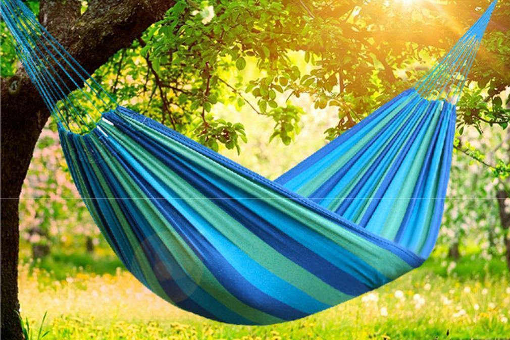 超厚帆布防撕裂吊床  鞦韆   露營必備休閒彩色帆布 吊床 -單人加大吊床