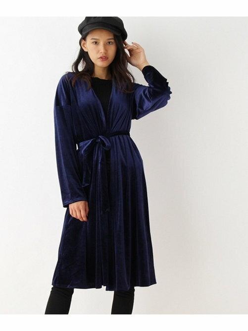 OZOC 綁帶 開衫長版長袖 金絲絨 外套 日本必買 日本直送 代購/日貨/雜誌