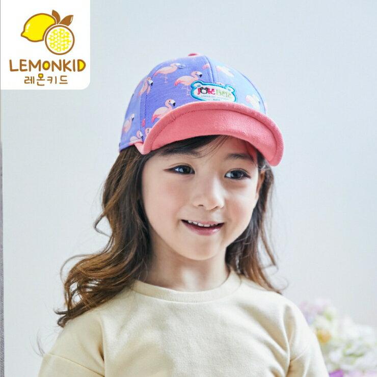 Lemonkid◆可愛時尚紅鶴大象動物印花兒童鴨舌棒球帽-紫粉色