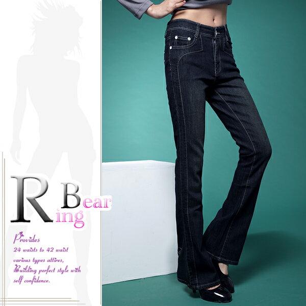 牛仔褲--絕對顯瘦素面側邊車線中腰小喇叭牛仔褲(S-7L)-N31眼圈熊中大尺碼 5