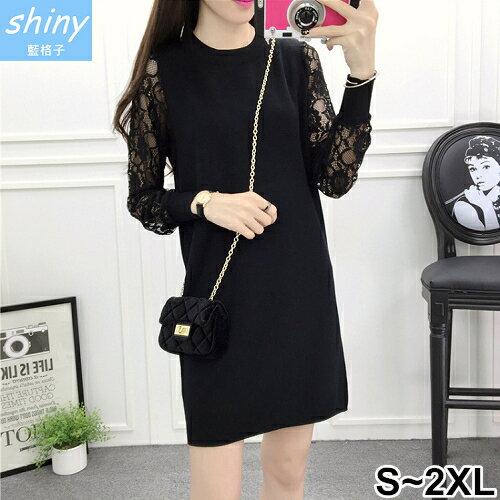 shiny藍格子:【V9355】shiny藍格子-輕意微秋.顯瘦拼接蕾絲長袖連衣裙