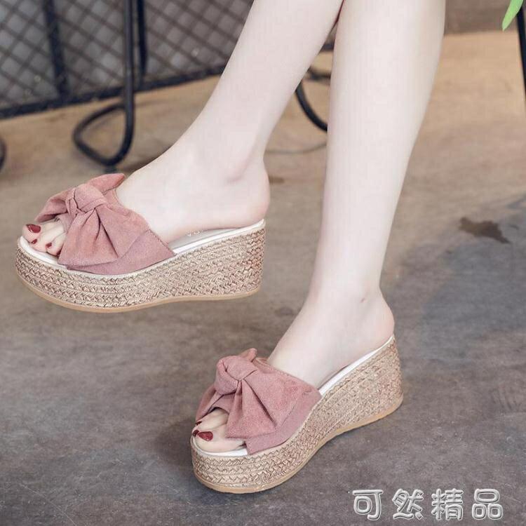 拖鞋女夏季厚底楔形厚底防水台高跟一字拖時尚外穿鬆糕底百搭女士涼鞋