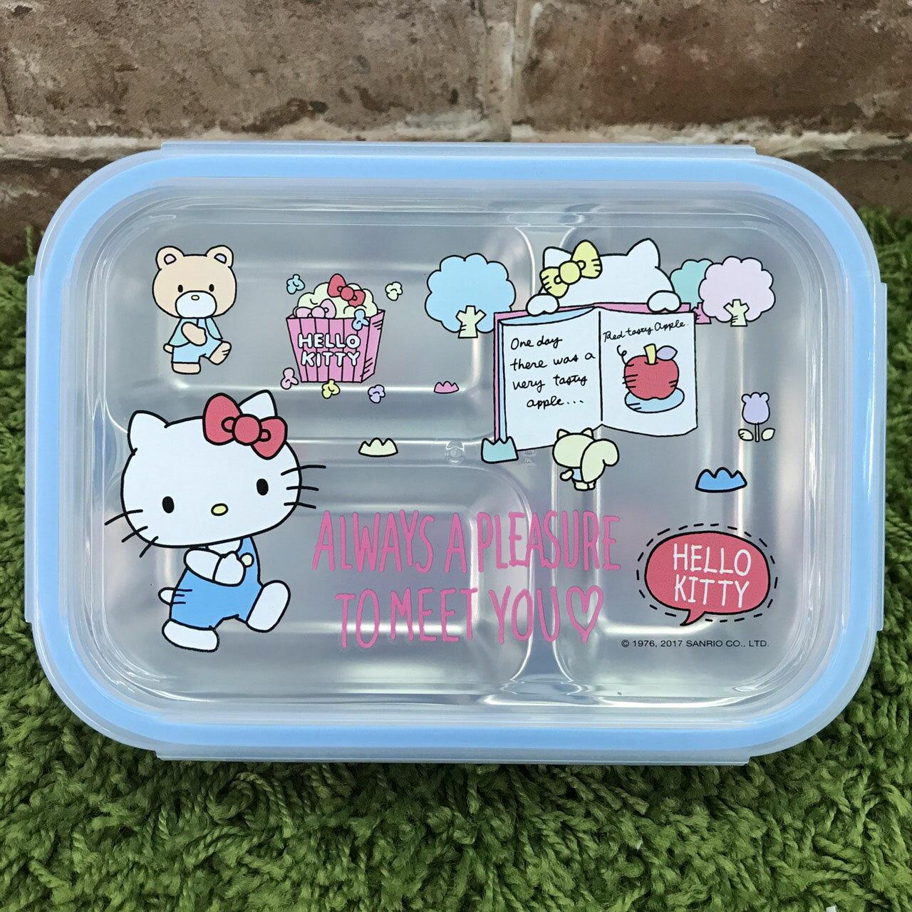 【真愛日本】17111600041 不鏽鋼分隔便當盒-KT讀書藍 三麗鷗 kitty 凱蒂貓 餐盒 304不鏽鋼