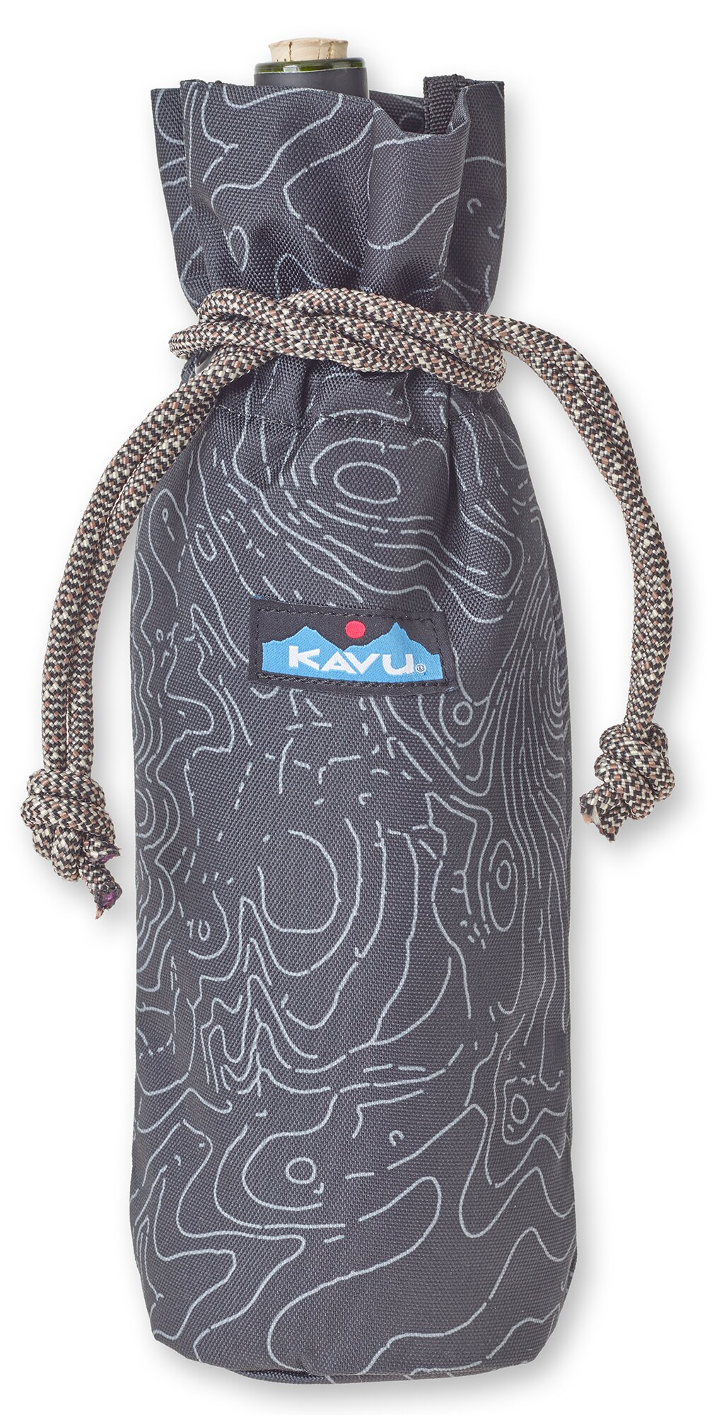 ├登山樂┤美國西雅圖KAVU Napa Sack 休閒拉繩提袋/水瓶袋 黑色等高線#9063(437)