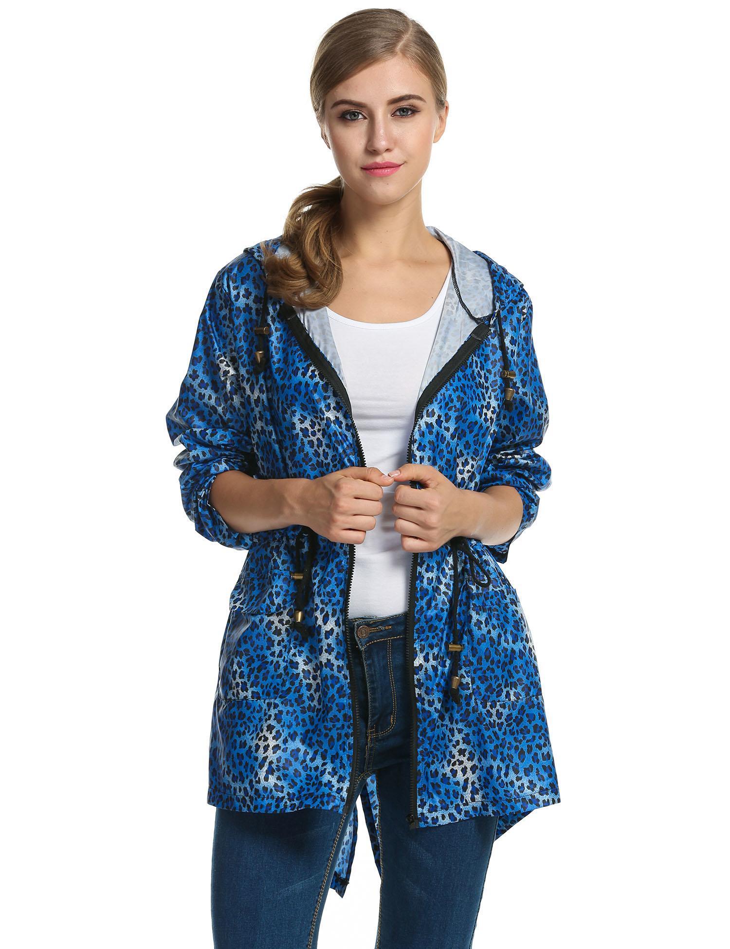 Women Leopard Fishtail Waist Drawstring Hooded Long Raincoat 0