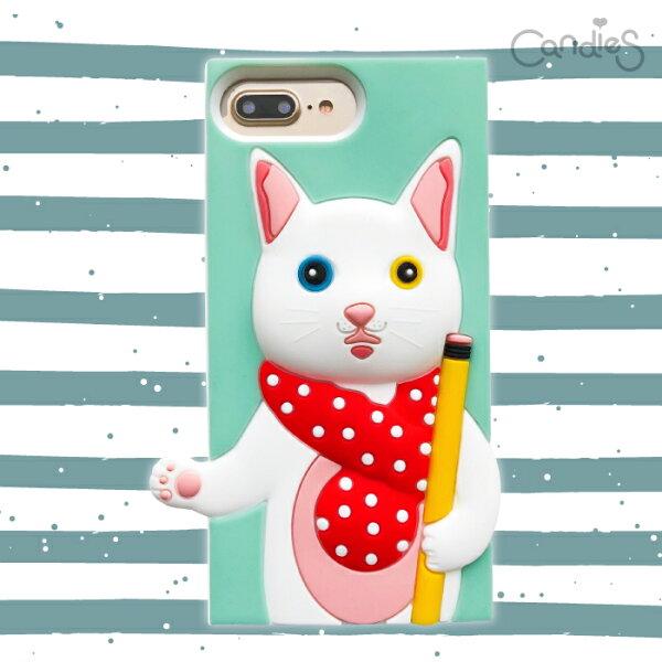 【Candies】聯名款銀的文具房異瞳貓-IPhone7Plus/IPhone8Plus