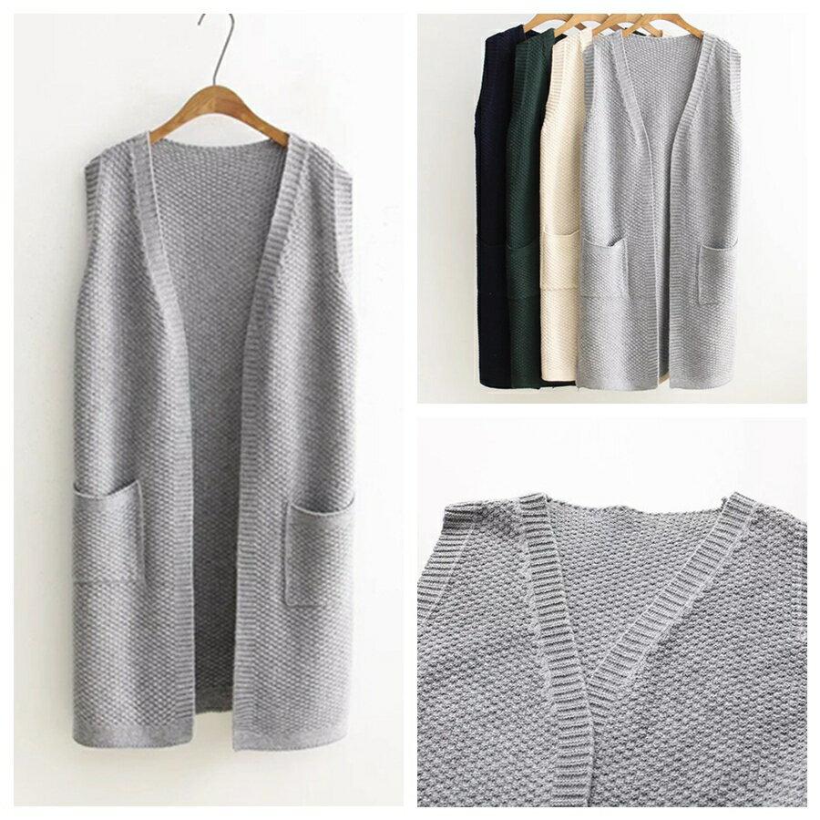 森女系素色簡約雙口袋背心式針織無袖外套